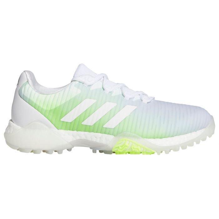 adidas Womens CodeChaos Golf Shoes White/White/Green - ON SALE