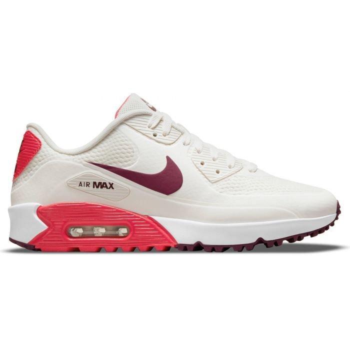 Nike Air Max 90 G Golf Shoes 2021 - Sail/Dark Beetroot/Fusion Red/White