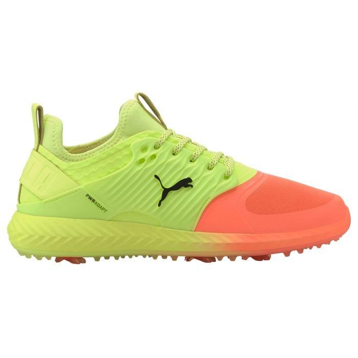 Puma Ignite Pwradapt Caged Rise Up Golf Shoes 2020 Peach Fizzy Yellow Black Carl S Golfland
