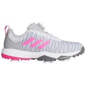 adidas Junior Girls CodeChaos 21 Boa Golf Shoes Grey/Scream Pink/Grey Four