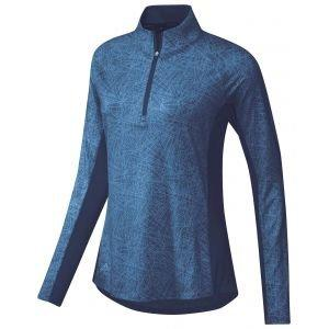 adidas Womens AEROREADY UPF Long Sleeve Printed Golf Shirt