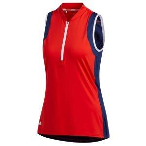 adidas Womens Color Block Sleeveless Golf Polo Shirt