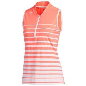 adidas Womens Engineered Stripe Sleeveless Golf Polo Shirt - ON SALE
