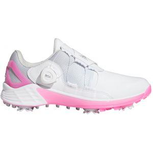 adidas Womens ZG21 Boa Golf Shoes White/Metallic Silver/Screaming Pink