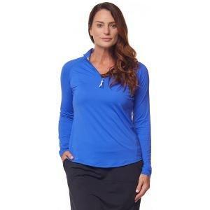 Bette & Court Womens Sunscape Mock Long Sleeve Golf Top - COBALT - XXL