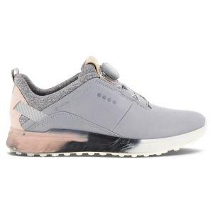 ECCO Women's S-Three Boa Spikeless Golf Shoes Silver Grey/Rose Dust