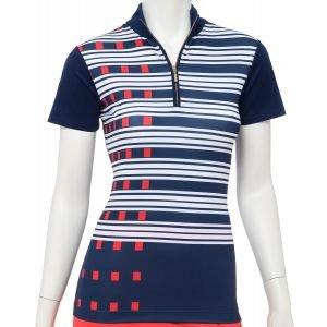 EPNY Women's Exploded Dash Stripe Print Zip Mock Golf Polo