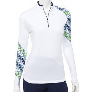 EP Pro Womens Long Sleeve Zip Mock Asymmetric Diagonal Geo Print Golf Polo