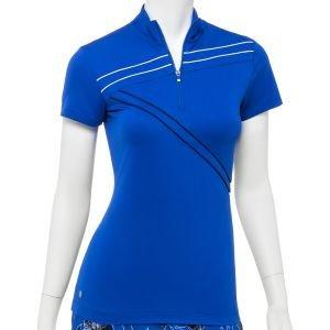 EPNY Women's Asymmetrical Contrast Cap Sleeve Zip Mock Golf Polo