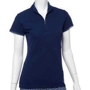 EPNY Women's Cap Sleeve Stud Tape Trim Zip Mock Golf Polo