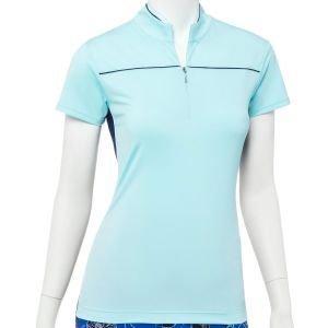 EPNY Women's Cap Sleeve Zip Mock Contrast Golf Polo