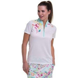 EPNY Women's Linear Floral Placed Print Golf Polo