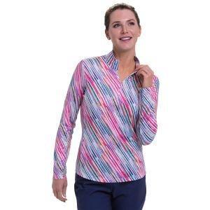EPNY Women's Long Sleeve Bias Watercolor Stripe Print Zip Mock Golf Polo