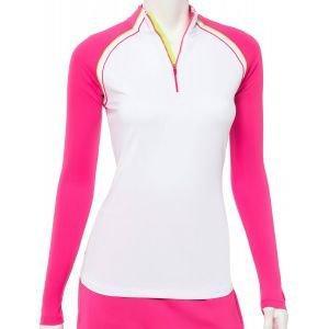 EPNY Women's Long Sleeve Contrast Piping Zip Mock Golf Polo