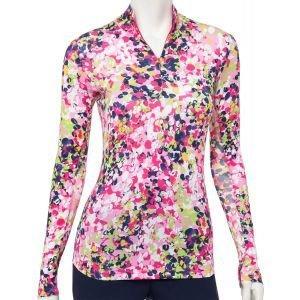 EPNY Women's Long Sleeve Diagonal Vine Floral Print Zip Mock Golf Polo