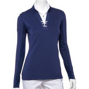 EPNY Women's Long Sleeve Eyelet Lacing Trim Golf Pullover