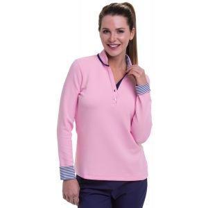 EPNY Women's Long Sleeve Y Neck Stripe Turn Back Cuff Detail Golf Pullover