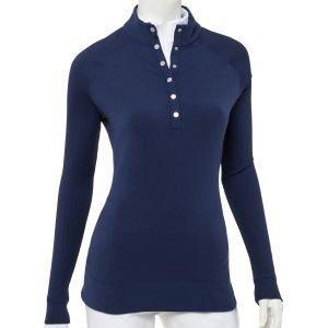 EPNY Ladies Rib Trim Snap Placket Golf Pullover