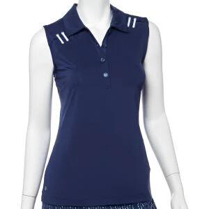 EPNY Women's Sleeveless Asymmetrical Eyelet Lacing Detail Golf Polo