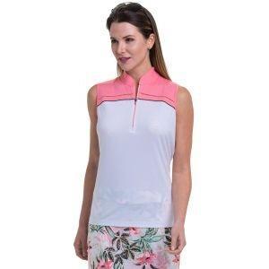 EPNY Women's Sleeveless Color Block Zip Madndarin Collar Golf Polo