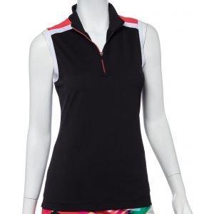 EPNY Women's Sleeveless Color Block Zip Mock Golf Polo