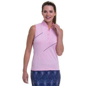 EPNY Women's Sleeveless Mandarin Collar Asymmetric Piping Detail Golf Polo
