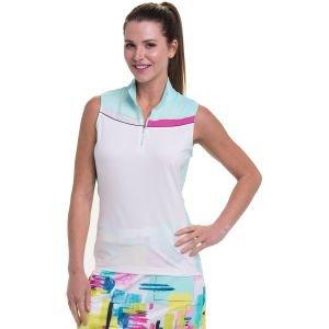EPNY Womens Sleeveless Multi Color Block Zip Mock Golf Polo