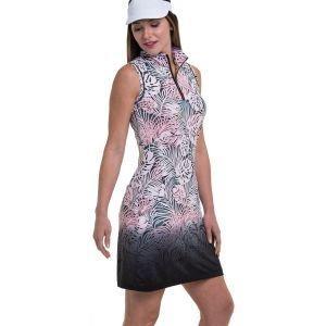 EPNY Women's Sleeveless Palm Frond Ombre Print Golf Dress