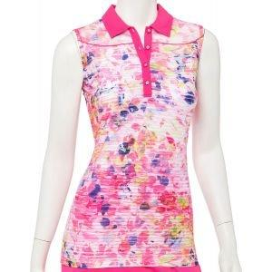 EPNY Women's Sleeveless Striated Abstract Floral Print Pucker Golf Polo