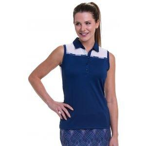 EPNY Women's Sleeveless Stripe Tape Trim Detail And Contrast Blocking Golf Polo