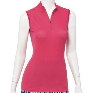 EPNY Women's Zig Zag Sleeveless Zip Mock Golf Polo