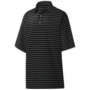 FootJoy Athletic Fit Classic Stripe Self Collar Golf Polo - Black/Heather Grey 26240
