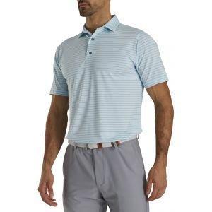 FootJoy Athletic Fit Classic Stripe Self Collar Golf Polo Ice Blue/Grey 26632