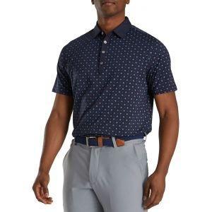 FootJoy Athletic Fit Deco Print Self Collar Golf Polo Navy/Lagoon