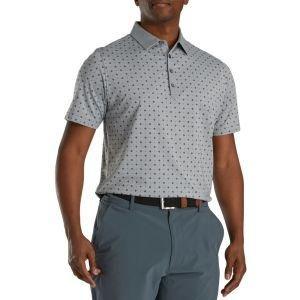 FootJoy Athletic Fit Deco Print Self Collar Golf Polo Heather Grey/Black