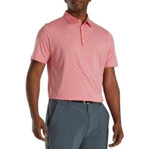 FootJoy Athletic Fit Deco Print Self Collar Golf Polo Coral Pink/Slate