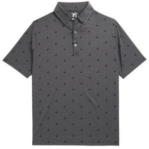 FootJoy Athletic Fit Lisle Golf Print Self Collar Golf Polo Heather Charcoal 26432