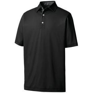 FootJoy Athletic Fit Lisle Solid Gingham Trim Golf Polo Black 26081