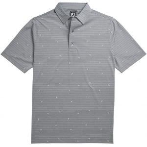 FootJoy Athletic Fit Lisle Stripe Self Collar Golf Polo Heather Grey/White Leaf Print 26214