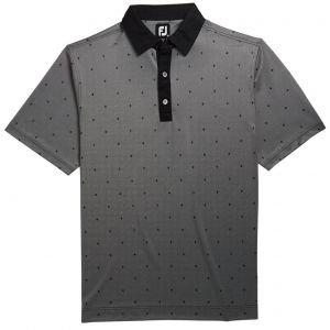 FootJoy Birdseye Argyle Print Self Collar Golf Polo - Black/White 26187