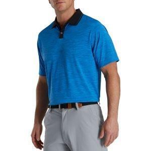 FootJoy Broken Pinstripe Lisle Knit Collar Golf Polo French Blue/Black 27331