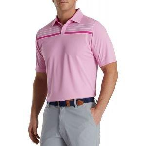 FootJoy Checker Jacquard Chest Stripe Self Collar Golf Polo Hot Pink/White 27322