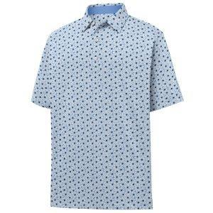 FootJoy Daisy Print Lisle Self Collar Golf Polo Lagoon 26546