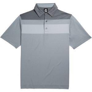 FootJoy Double Block Birdseye Pique Self Collar Golf Polo Shirt Heather Grey/White/Black