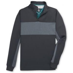 FootJoy Double Jersey Pieced Quarter Zip Golf Pullover Charcoal/Heather Grey 25142