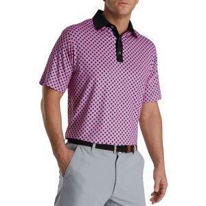 FootJoy Geometric Print Lisle Self Collar Golf Polo Hot Pink 27344