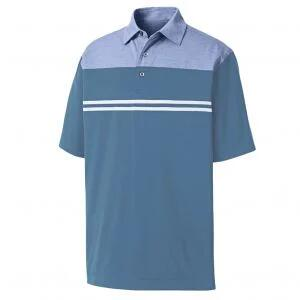 FootJoy Heather Color Block Lisle Self Collar Golf Polo - Heather Lavender/Blue Grey/White - 26405