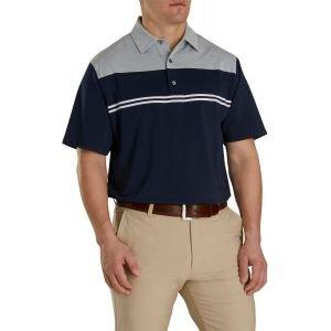 FootJoy Heather Color Block Lisle Self Collar Golf Polo Navy/Heather Grey/White 26071