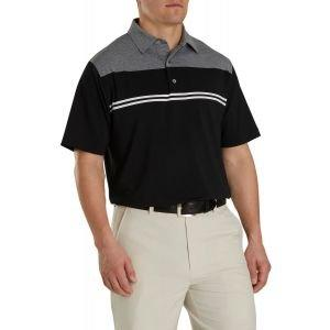 FootJoy Heather Color Block Lisle Self Collar Golf Polo Black/Heather Charcoal/White 26073
