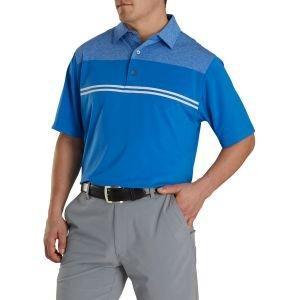 FootJoy Heather Color Block Lisle Self Collar Golf Polo Heather Royal/Royal/White 26230